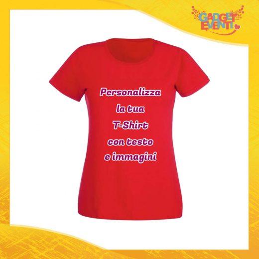 T-Shirt Donna Maglietta Rossa Personalizzata con Nome Foto Immagine Testo o Frase Gadget Eventi