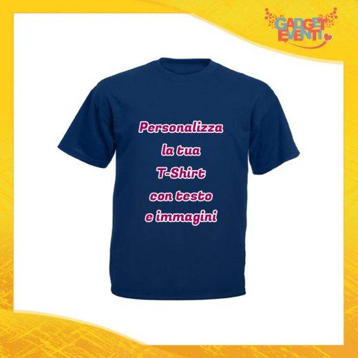 T-Shirt Uomo Maglietta Blu Navy Personalizzata con Nome Foto Immagini Testo o Frasi Gadget Eventi