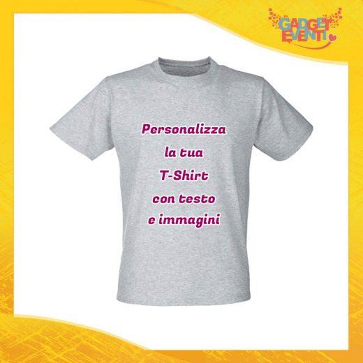 T-Shirt Uomo Maglietta Grigia Personalizzata con Nome Foto Immagini Testo o Frasi Gadget Eventi