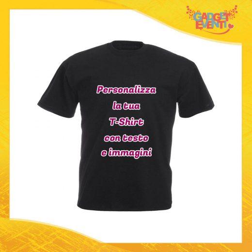 T-Shirt Uomo Maglietta Nera Personalizzata con Nome Foto Immagini Testo o Frasi Gadget Eventi