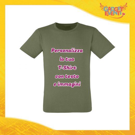 T-Shirt Uomo Maglietta Oliva Personalizzata con Nome Foto Immagini Testo o Frasi Gadget Eventi