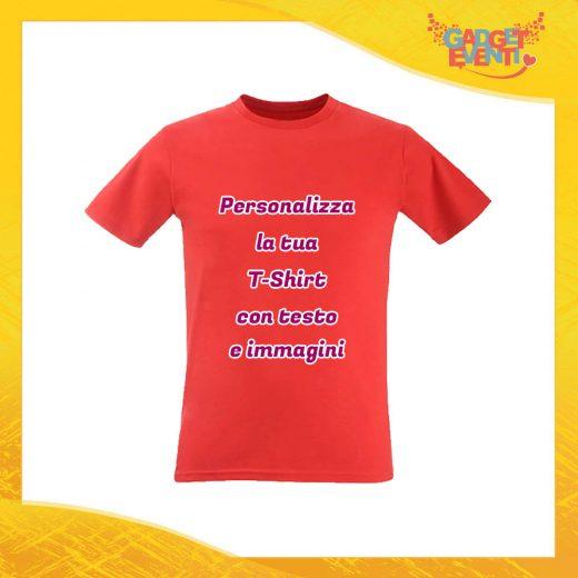 T-Shirt Uomo Maglietta Rossa Personalizzata con Nome Foto Immagini Testo o Frasi Gadget Eventi