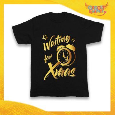 TSHIRT NERO WAITING FOR XMAS ORO