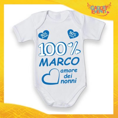 BODY BIANCO 100% AMORE DEI NONNI BLU