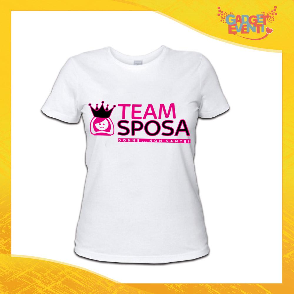 """T-Shirt Donna Bianca Maglietta """"Donne non Sante Corona"""" Maglia per Addii al Nubilato Idea Regalo divertente Gadget Eventi"""