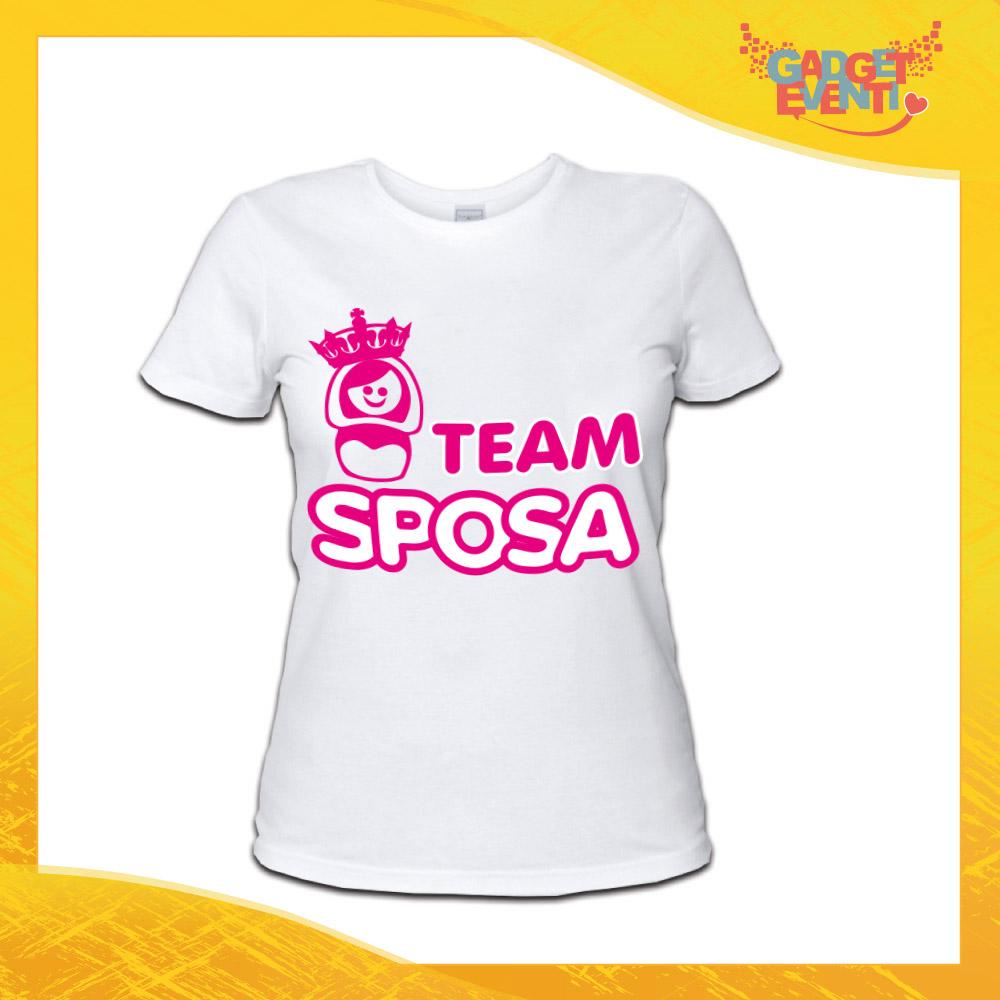 """T-Shirt Addio al Nubilato Donna Maglietta """"Team Sposa Corona"""" Gadget Eventi"""