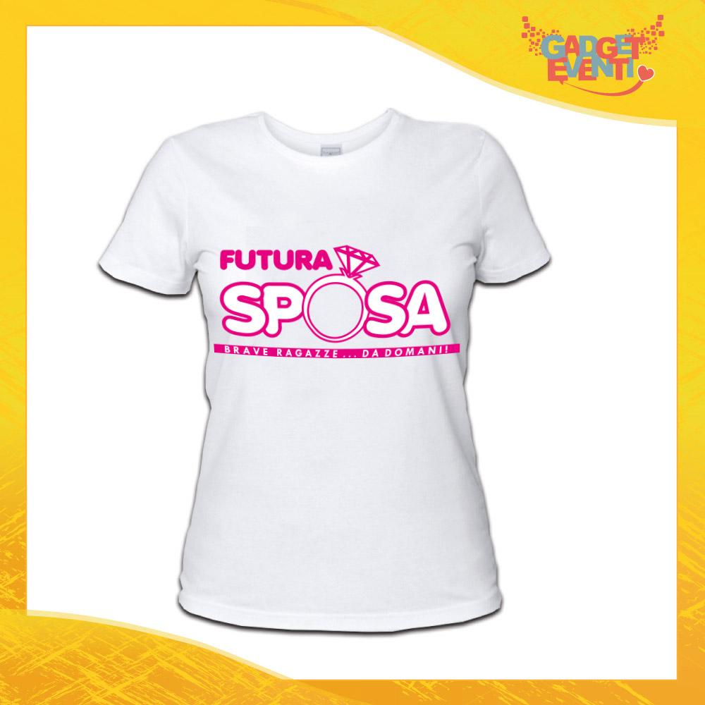 """T-Shirt Addio al Nubilato Donna Maglietta """"Futura Sposa Anello"""" Gadget Eventi"""