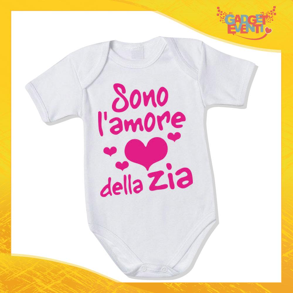 """Body Neonato Fucsia Bodino Bimbo """"Amore della zia"""" Gadget Eventi"""