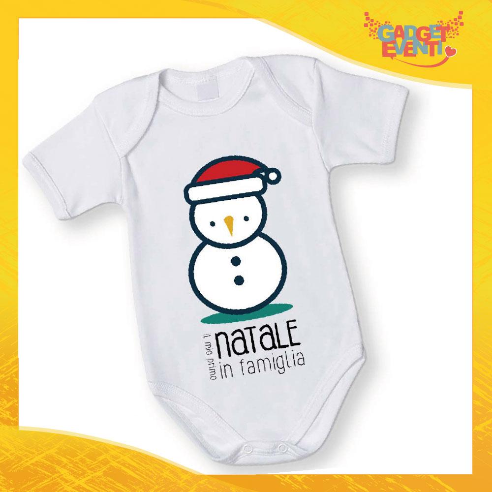 """Body Neonato Bodino Natalizio """"Pupazzo di neve Natale in Famiglia"""" Gadget Eventi"""