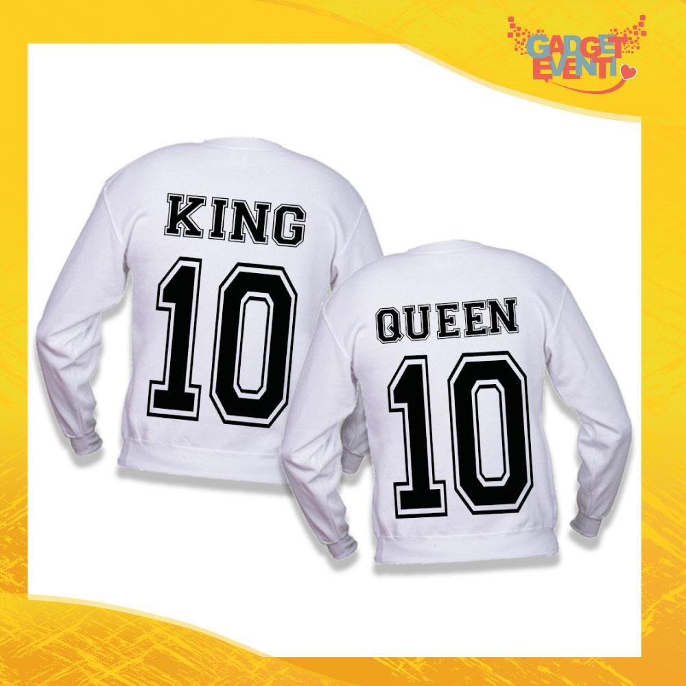 """Felpa Coppia Adulto Bianca """"King Queen"""" Stampa Retro Gadget Eventi"""