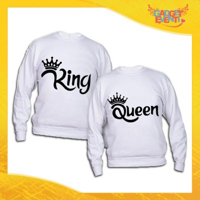 """Coppia di Felpe Adulto Bianche """"King and Queen Corona"""" Maglioni Girocollo o con Cappuccio per Coppie Sposi Gadget Eventi"""