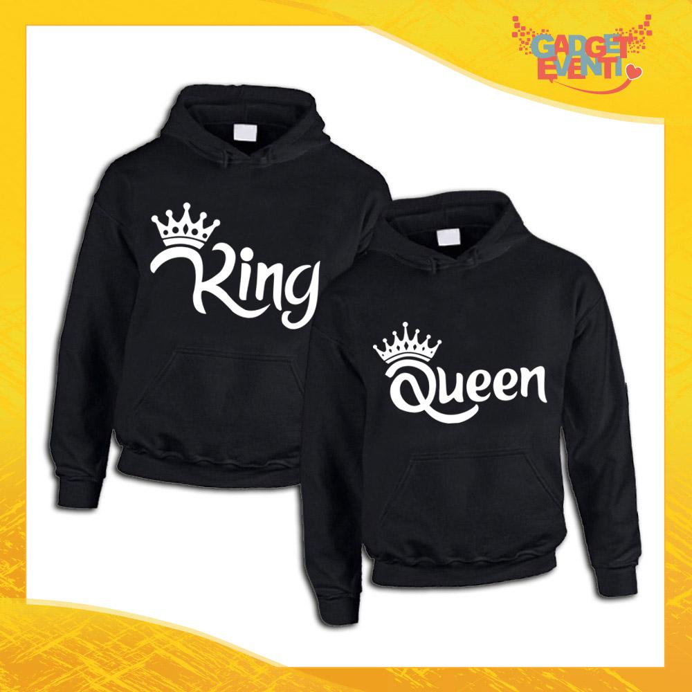 Coppie Felpa con Cappuccio King/&Queen Corona Stampa Felpe Pullover Uomo e Donna
