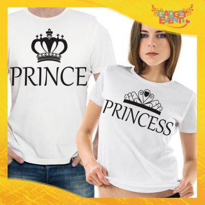 """T-Shirt Coppia Maglietta """"Prince and Princess"""" Gadget Eventi"""