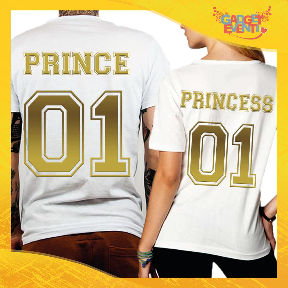 """T-Shirt Coppia Retro Maglietta """"Prince and Princess Oro"""" Gadget Eventi"""