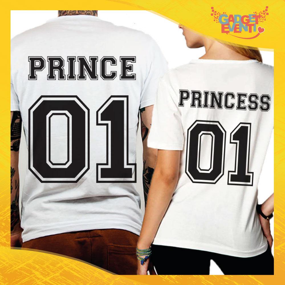 """T-Shirt Coppia Retro Maglietta """"Prince and Princess"""" Gadget Eventi"""