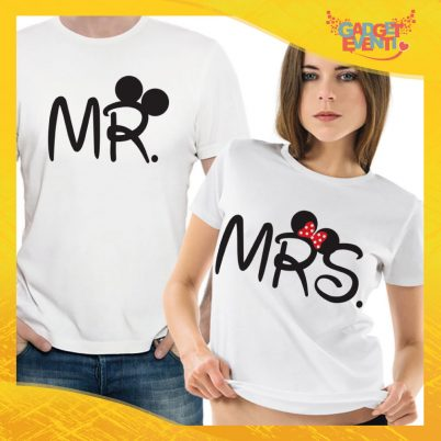 "T-Shirt Coppia Maglietta ""Mr and Mrs Disney"" Gadget Eventi"