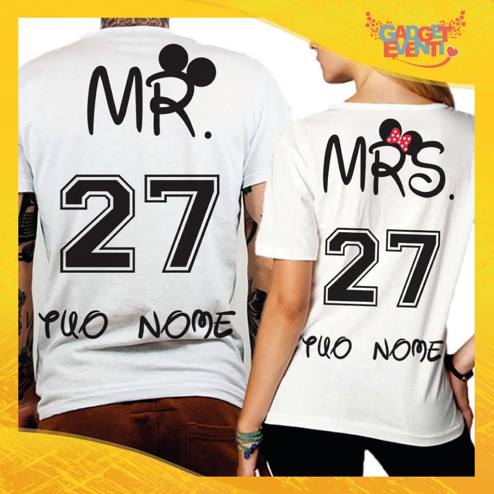 """T-Shirt Coppia Retro Maglietta """"Mr and Mrs"""" Gadget Eventi"""