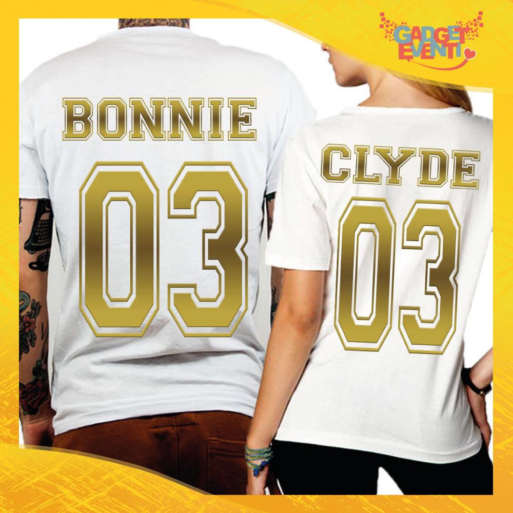 """T-Shirt Coppia Retro Maglietta """"Bonnie and Clyde Oro"""" Gadget Eventi"""