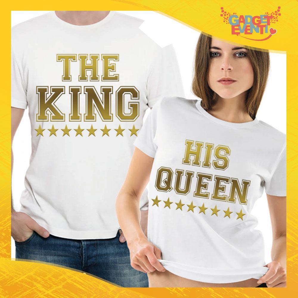 """T-Shirt Coppia Maglietta """"The King and his Queen Dorato"""" Gadget Eventi"""