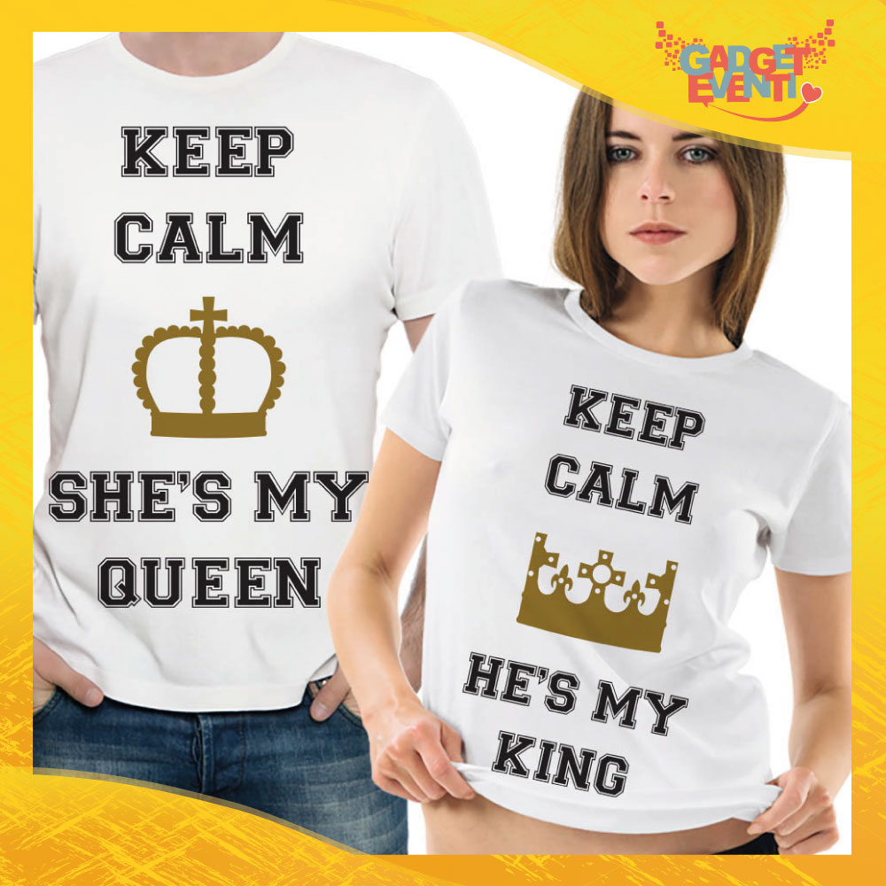 "T-Shirt Coppia Maglietta ""Keep Calm she is my Queen"" Gadget Eventi"
