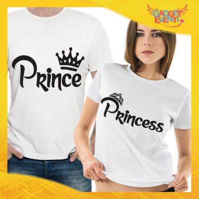 """T-Shirt Coppia Maglietta """"Prince and Princess Corona"""" Gadget Eventi"""