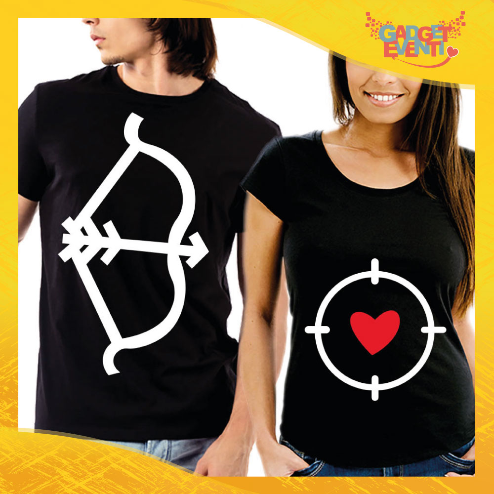 """T-Shirt Coppia Maglietta """"Freccia Bersaglio con Cuore"""" Gadget Eventi"""