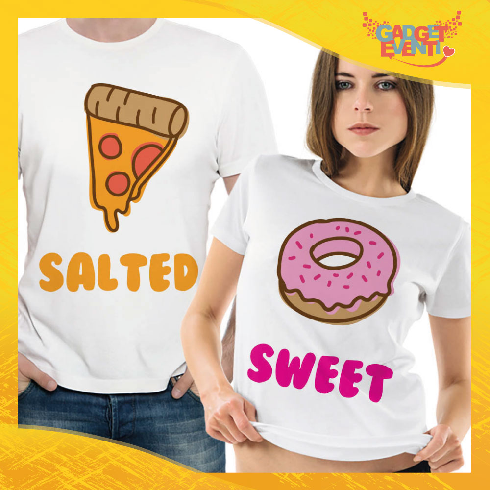 """T-Shirt Coppia Maglietta """"Salted and Sweet"""" Gadget Eventi"""