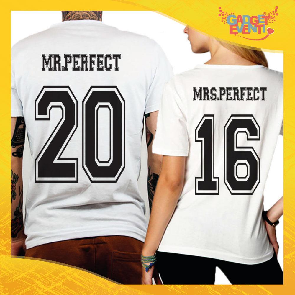 """T-Shirt Coppia Retro Maglietta """"Mr and Mrs Perfect"""" Gadget Eventi"""