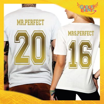 "T-Shirt Coppia Retro Maglietta ""Mr and Mrs Perfect Oro"" Gadget Eventi"