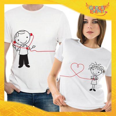 """T-Shirt Coppia Maglietta """"Comunicazione a Distanza"""" Gadget Eventi"""