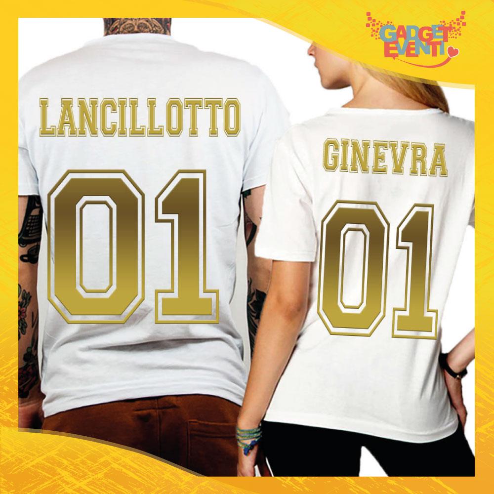 """T-Shirt Coppia Retro Maglietta """"Lancillotto and Ginevra Oro"""" Gadget Eventi"""