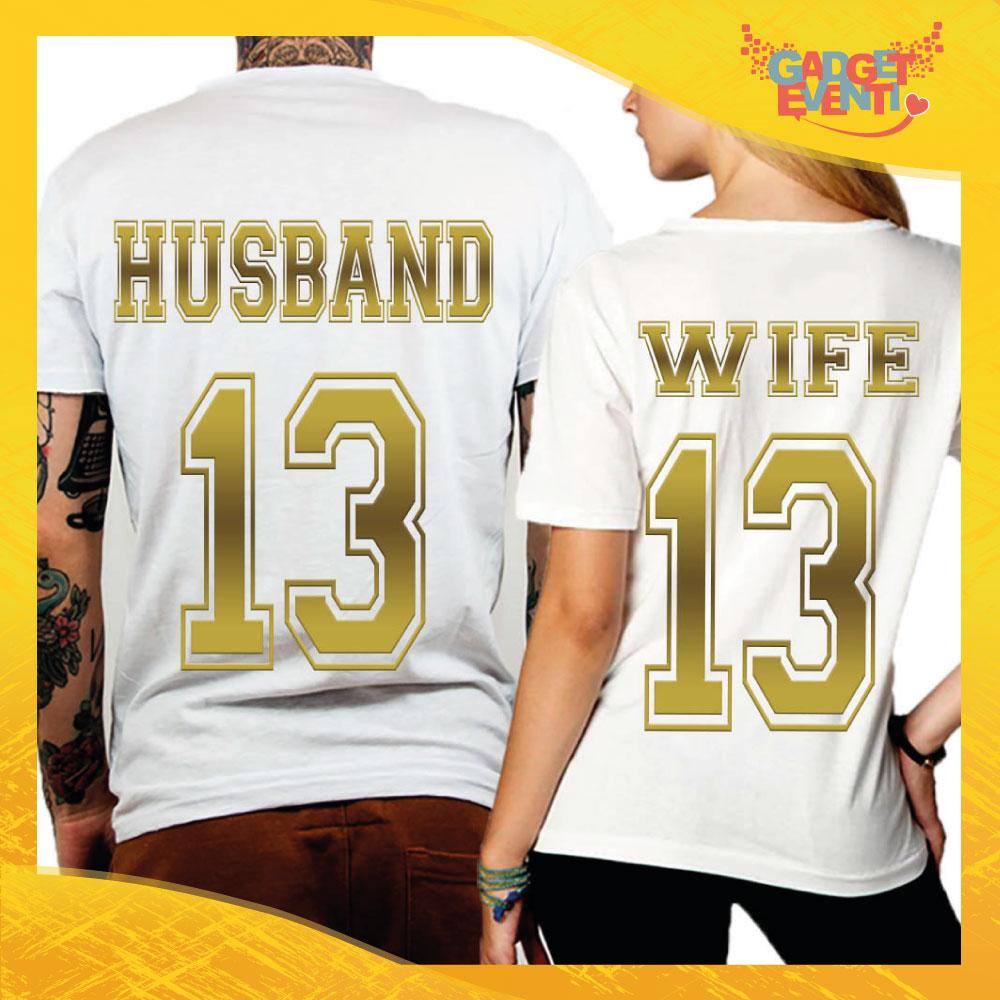 """T-Shirt Coppia Retro Maglietta """"Husband and Wife Oro"""" Gadget Eventi"""
