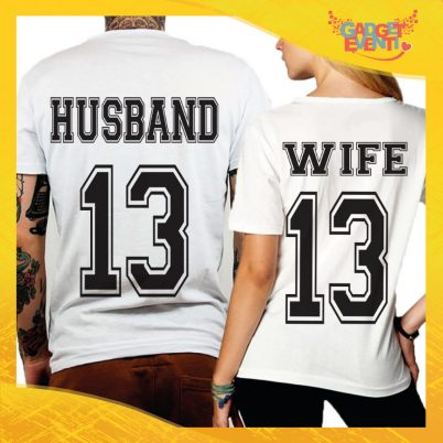 "T-Shirt Coppia Retro Maglietta ""Husband and Wife"" Gadget Eventi"