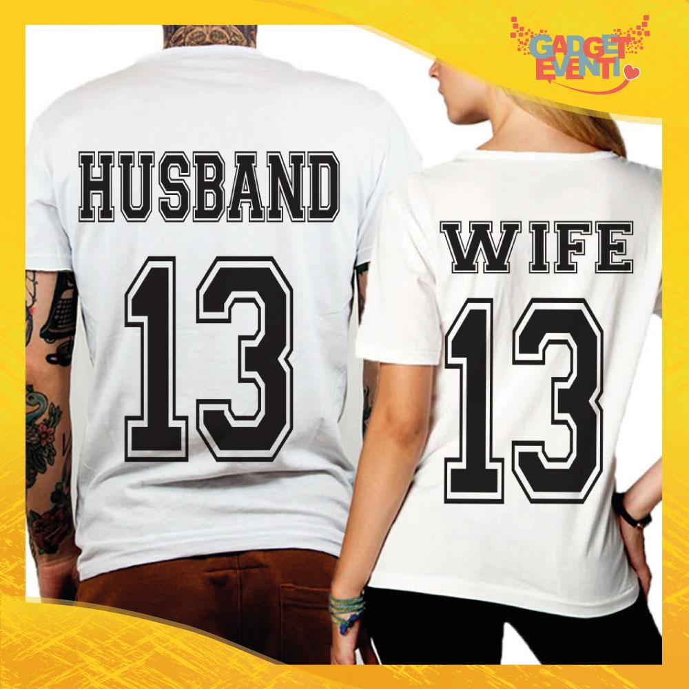 """T-Shirt Coppia Retro Maglietta """"Husband and Wife"""" Gadget Eventi"""
