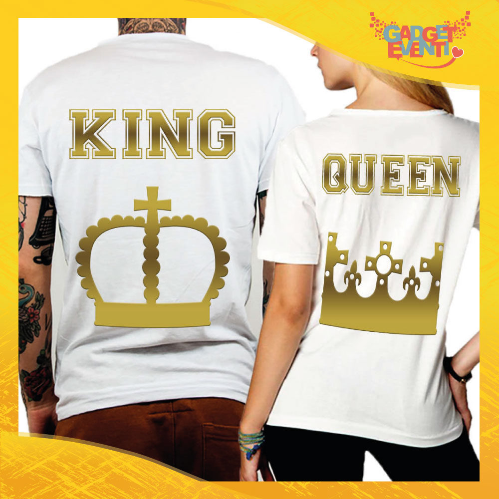 "T-Shirt Coppia Retro Maglietta ""King and Queen Oro Corona"" Gadget Eventi"