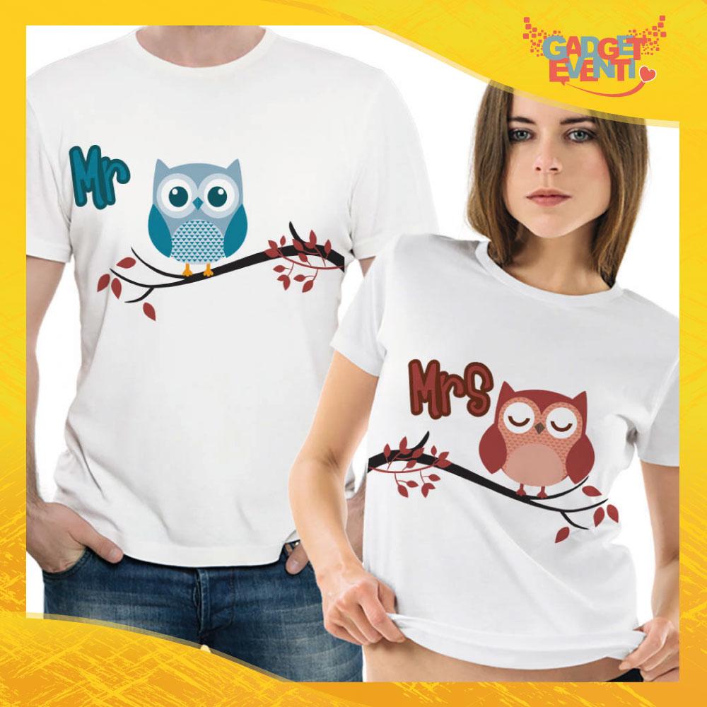 """T-Shirt Coppia Maglietta """"Mr and Mrs Gufetto"""" Gadget Eventi"""