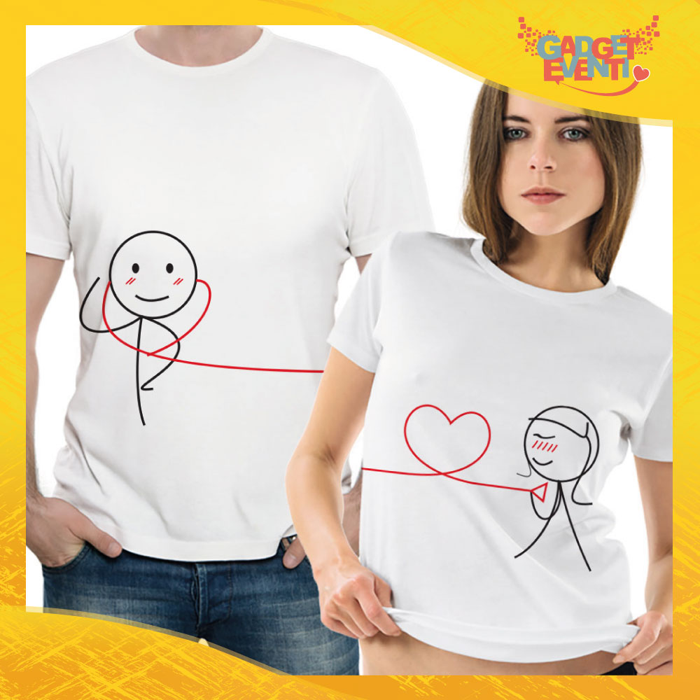 """T-Shirt Coppia Maglietta """"In Cerca di Amore"""" Gadget Eventi"""