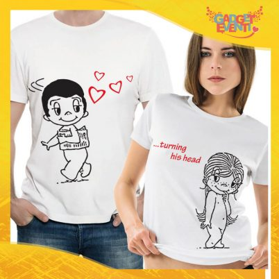 "T-Shirt Coppia Maglietta ""Turning his head"" Gadget Eventi"