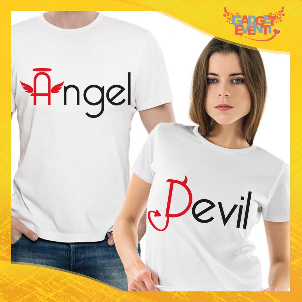 """T-Shirt Coppia Maglietta """"Angel and Devil"""" Gadget Eventi"""