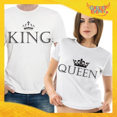 "T-Shirt Coppia Maglietta ""King and Queen"" Gadget Eventi"