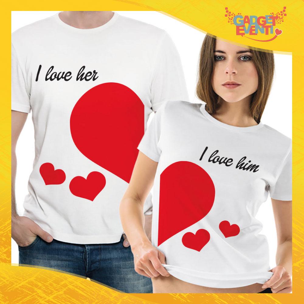 "T-Shirt Coppia Maglietta ""I Love Her"" Gadget Eventi"
