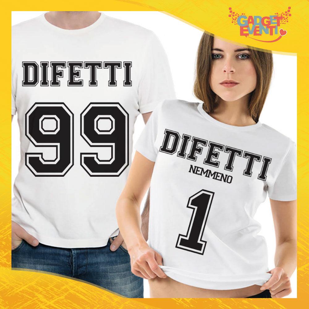 """T-Shirt Coppia Maglietta """"Difetti Lui e Lei"""" Gadget Eventi"""