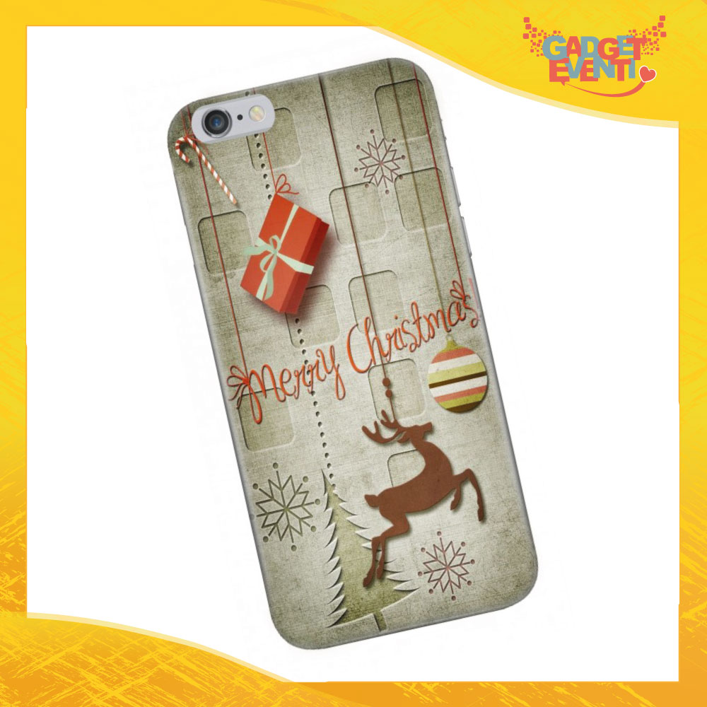 "Cover Smartphone Natale Cellulare Tablet ""Merry Christmas con renna"" Gadget Eventi"