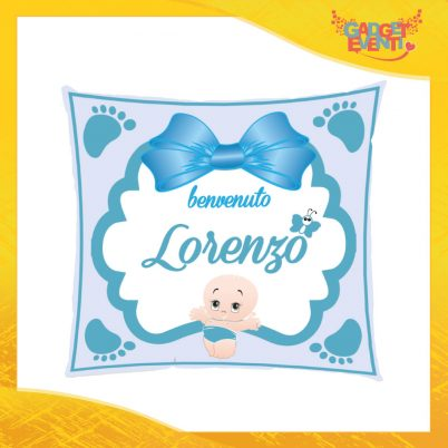 """Cuscino Bambino Baby Azzurro con nome personalizzabile """"Benvenuto"""" Gadget Eventi"""