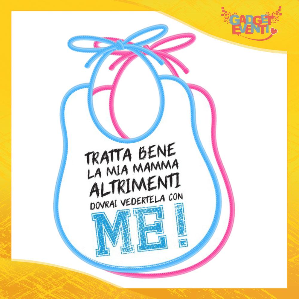 """Bavetto Bavaglino Bimbo Maschietto """"Tratta bene la mia mamma"""" Gadget Eventi"""