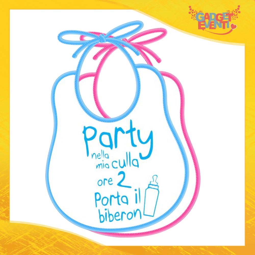 """Bavetto Bavaglino Bimbo Maschietto """"Party nella mia culla"""" Gadget Eventi"""