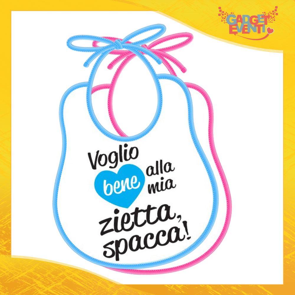 """Bavetto Bavaglino Bimbo Maschietto """"Zietta Spacca"""" Gadget Eventi"""
