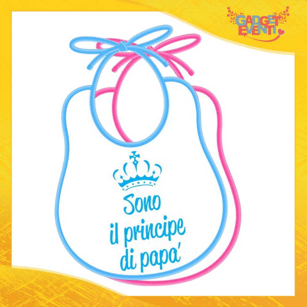 """Bavetto Bavaglino Bimbo Maschietto """"Principe di Papà"""" Gadget Eventi"""