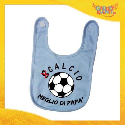 """Bavetto Azzurro Bavaglino Bimbo Baby """"Calcio Meglio di Papà"""" Gadget Eventi"""