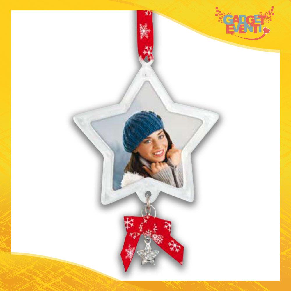 """Appendino Natale Addobbo Natalizio con foto personalizzabile """"Stella di Natale con Campanello"""" Gadget Eventi"""